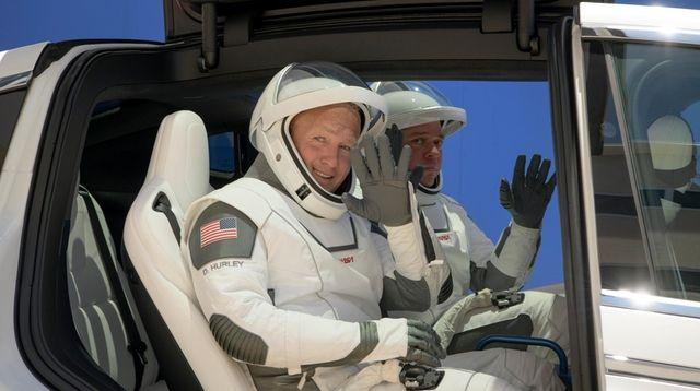 NASA astronauts Douglas Hurley, left, and Robert Behnken,