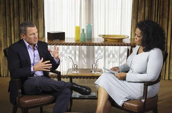 Oprah Winfrey interviews Lance Armstrong during taping for