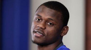 Giants rookie cornerback DeAndre Baker talks to reporters