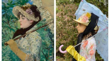 "Juliette Chapman, right, recreated Edouard Manet's ""Spring,"" left."