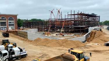 Construction takes place for the Islanders' new arena