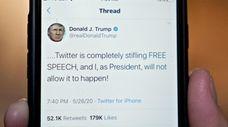 President Donald Trump's tweet response to Twitter's fact-checks