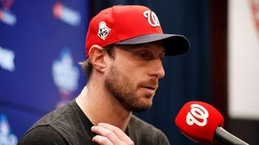 Washington Nationals starting pitcher Max Scherzer speaks during