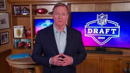 NFL Commissioner Roger Goodell speaks from his home