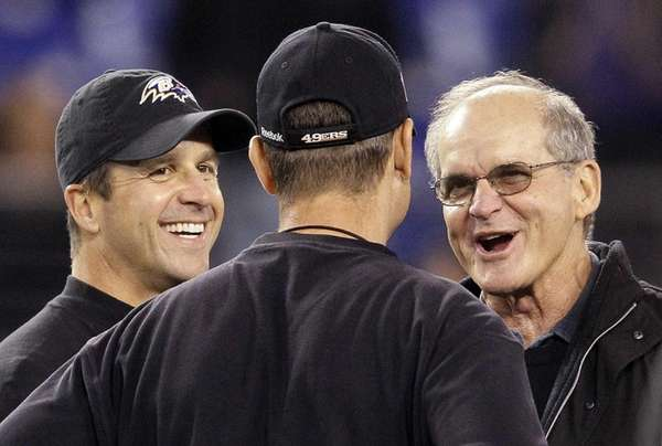 From left, Baltimore Ravens head coach John Harbaugh,