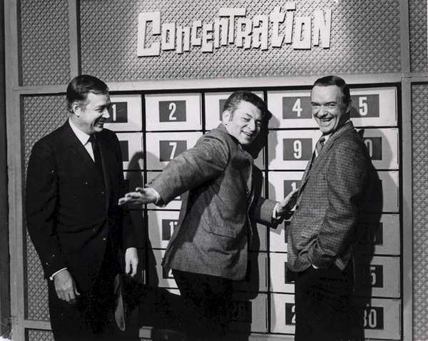 "Norm Blumenthal, center, with ""Concentration"" host Hugh Downs,"