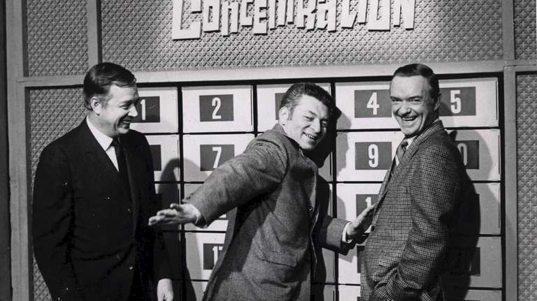 """Norm Blumenthal, center, with """"Concentration"""" host Hugh Downs,"""
