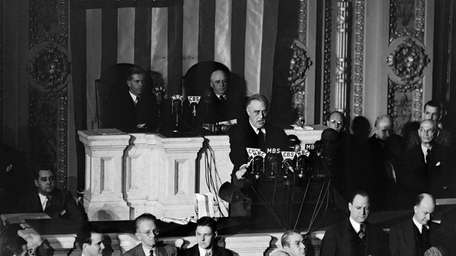After Pearl Harbor attack, President Roosevelt delivers his