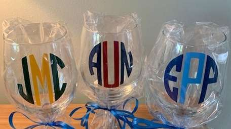 Mollie's Monkie monogrammed glasses, $15 each, are a