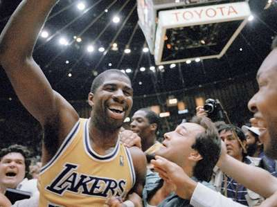 Magic Johnson after the Lakers defeated Boston Celtics,