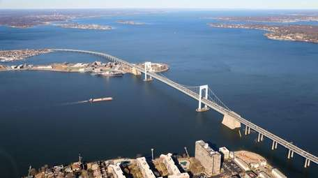 An aerial photograph showing the Throgs Neck Bridge