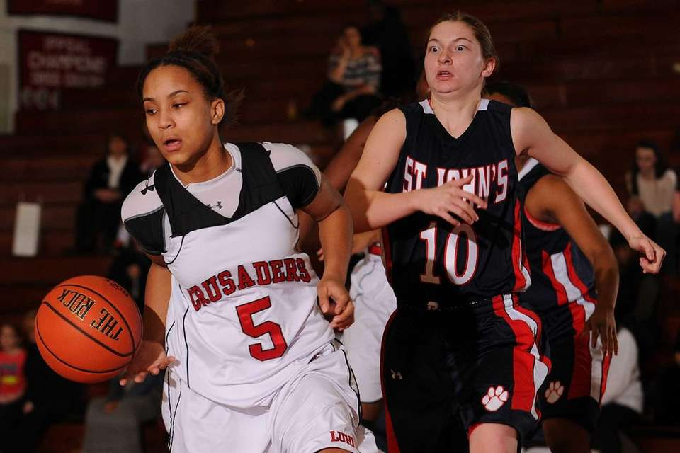 Long Island Lutheran's Kaela Hilaire, left, makes an
