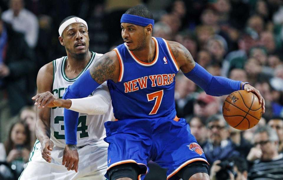 Carmelo Anthony backs down on Boston Celtics forward