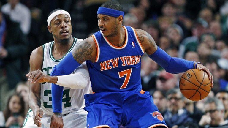 Carmelo Anthony backs down on Boston Celtics forward