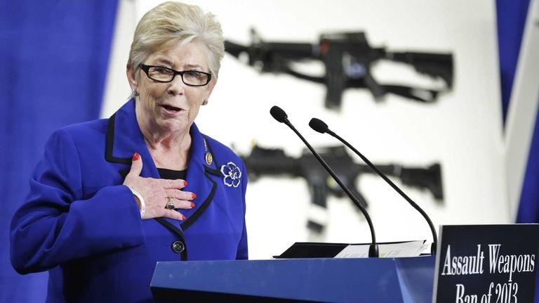 Rep. Carolyn McCarthy, D-N.Y., speaks during a news