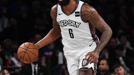 Brooklyn Nets center DeAndre Jordan dribbles th ball