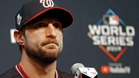 Washington Nationals pitcher Max Scherzer speaks at a