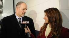 ESPN's Rachel Nichols, right, interviews Indianapolis Colts head