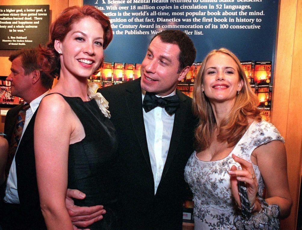 John Travolta and wife Kelly Preston, with Jenna