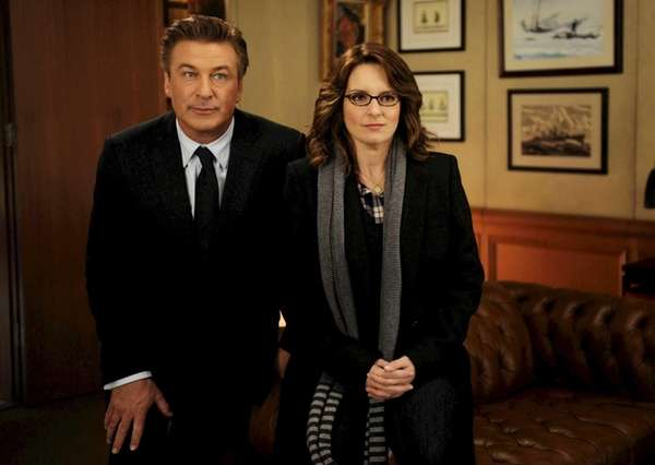 Alec Baldwin portrays Jack Donaghy and Tina Fey
