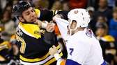 Milan Lucic #17 of the Boston Bruins and