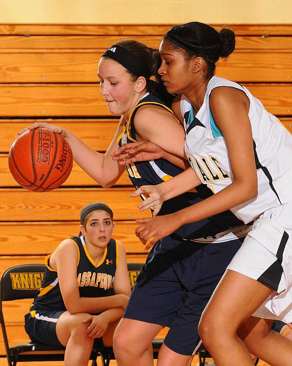 Massapequa's Melanie Hingher, left, attempts to dribble past