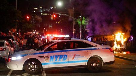 NYPD officers block off DeKalb Avenue in Brooklyn