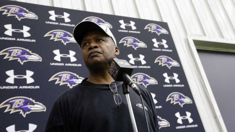 Baltimore Ravens offensive coordinator Jim Caldwell speaks at