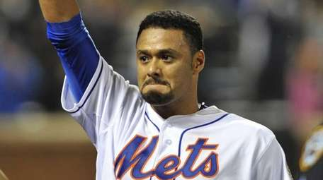 Johan Santana waves after his no-hitter against the