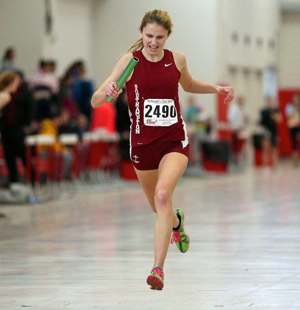 Sothampton's Erika Gulija wins the 4 x 200-meter