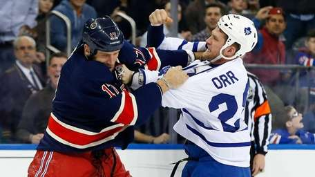 Colton Orr of the Toronto Maple Leafs and