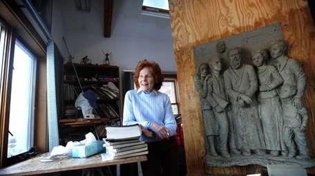 Eileen Barry in her home studio which, along