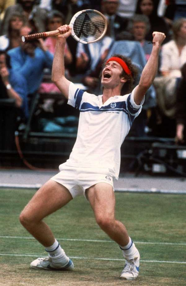 John McEnroe celebrates his victory after defeating Bjorn