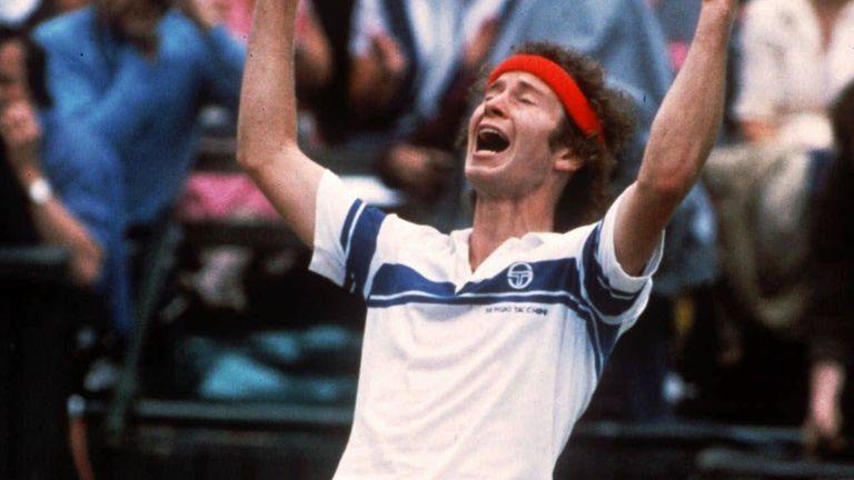 John McEnroe celebrates his victory after defeating Bjorn