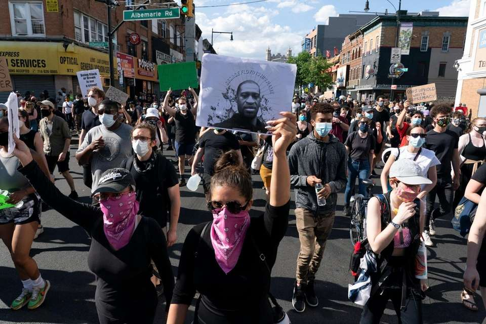 Demonstrators demanding justice for George Floyd and other