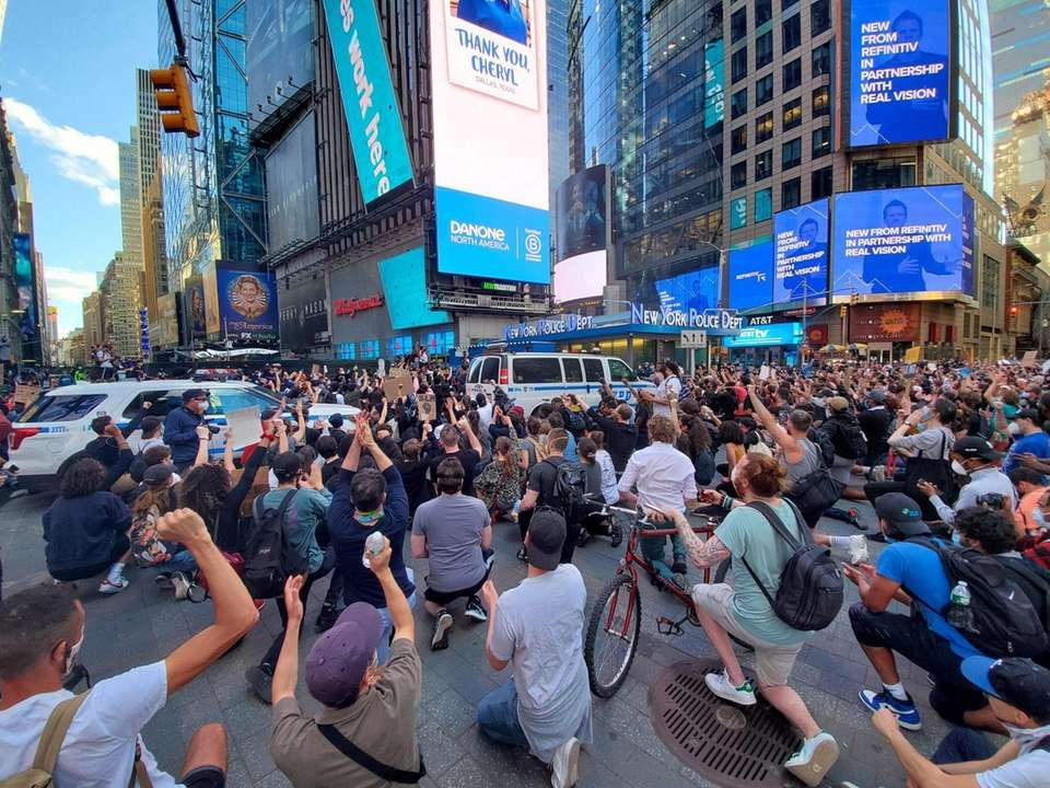 Protesters imn Times Square in Manhattan on Sunday,