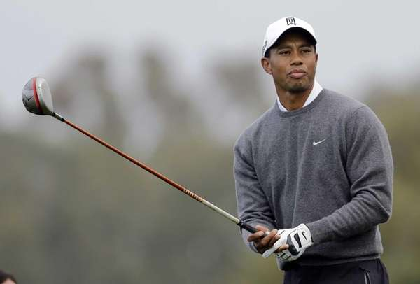 Tiger Woods looks down the second fairway of