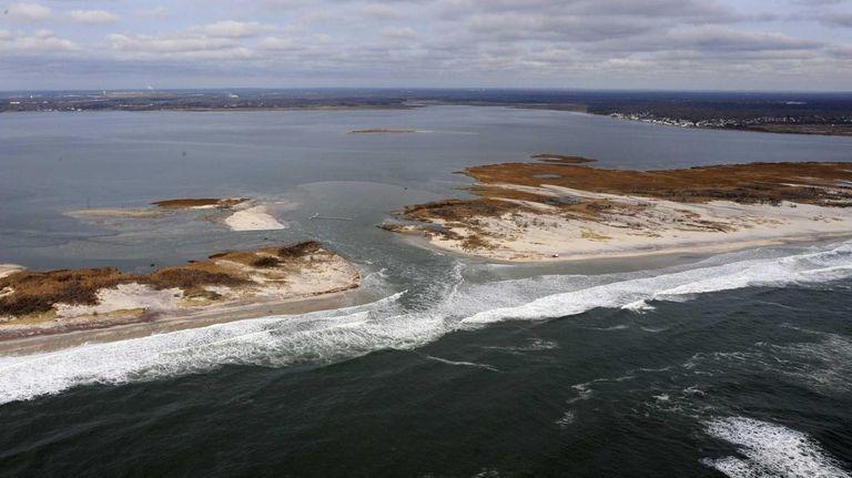 A breach in Fire Island is shown. (Dec.