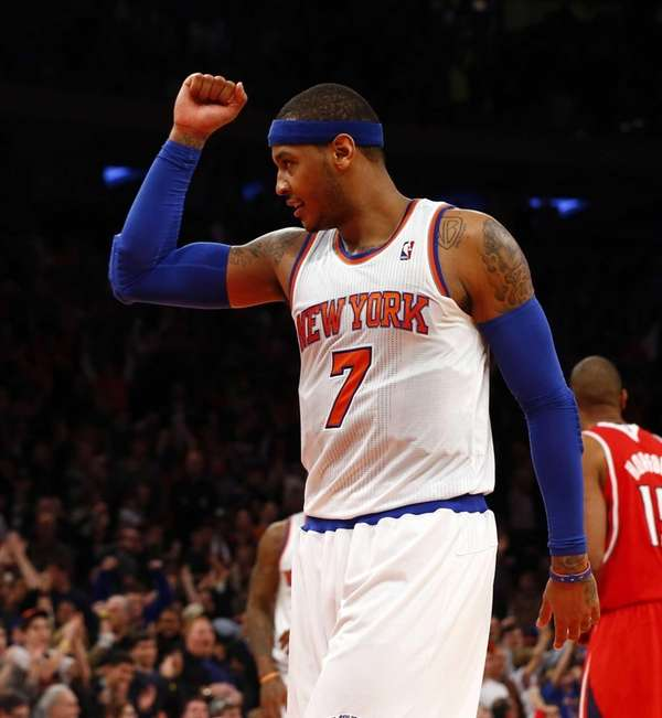 Carmelo Anthony of the Knicks celebrates at the