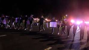 Suffolk police said about 100 marchers headed to