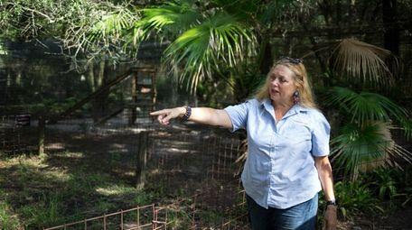 Big Cat Rescue founder Carole Baskin walks the