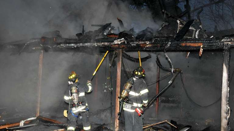Firefighters from Cold Spring Harbor, Huntington, Halesite and