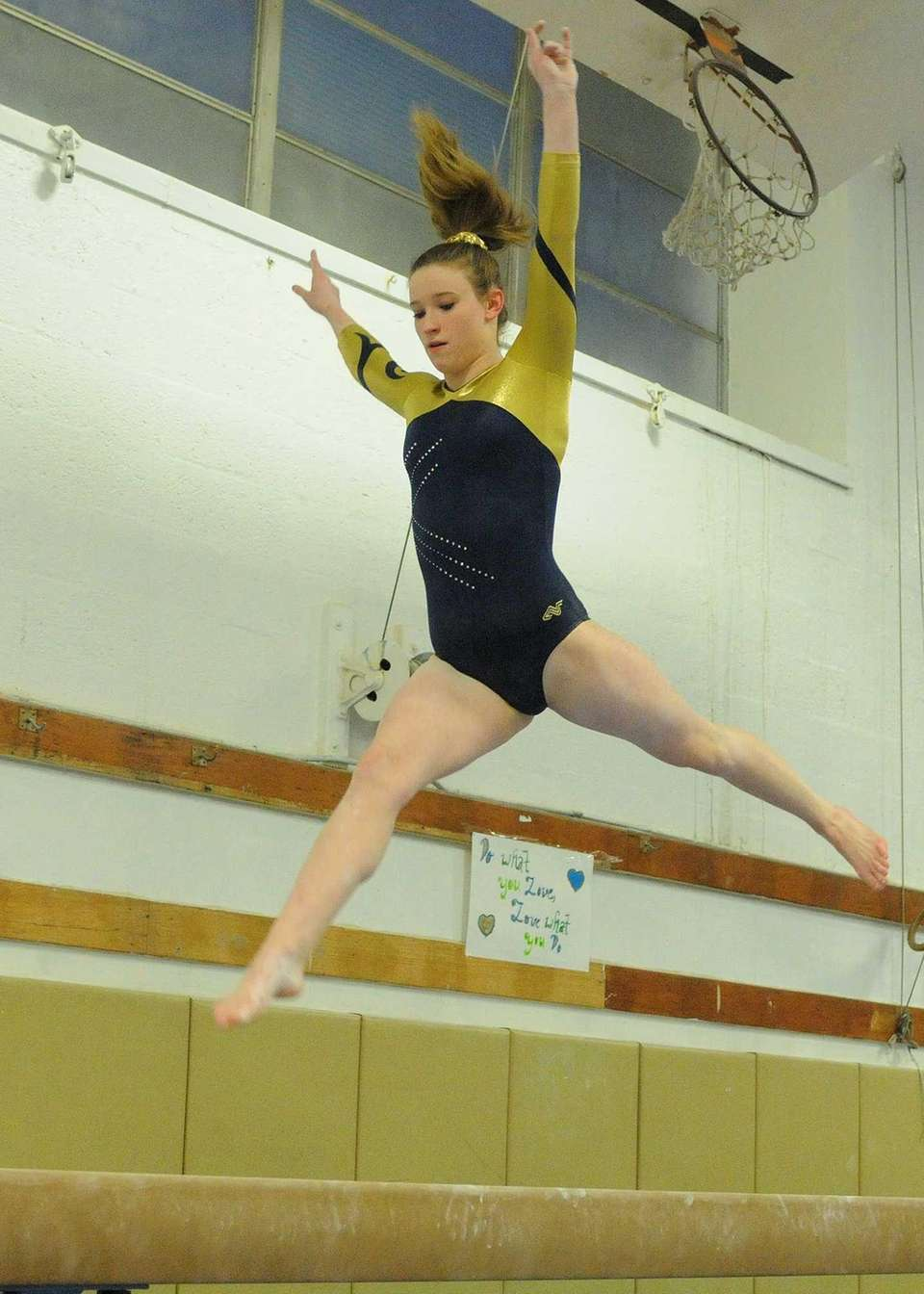 Bethpage High School freshman Lexi Fraher performs her