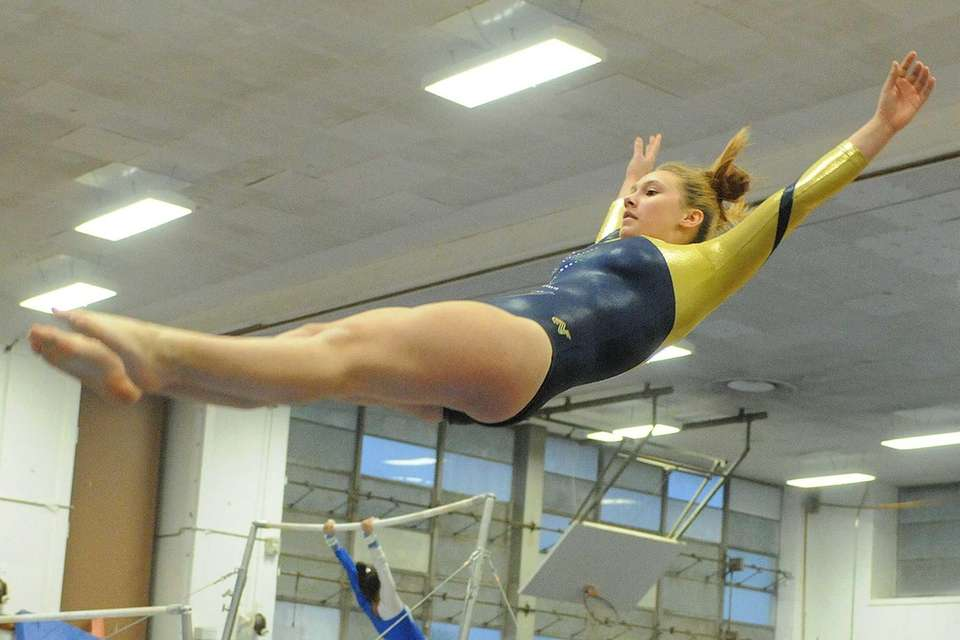Alyssa Testa of Bethpage soars through the air