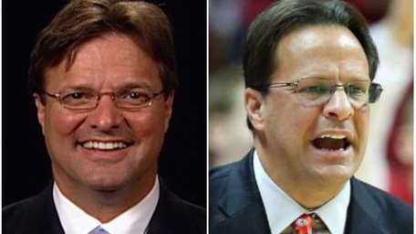 Newsday's Bob Glauber, left; Indiana men's basketball coach