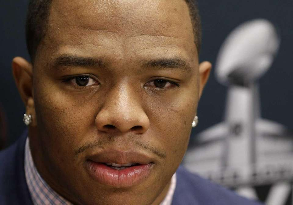 Baltimore Ravens running back Ray Rice speaks at