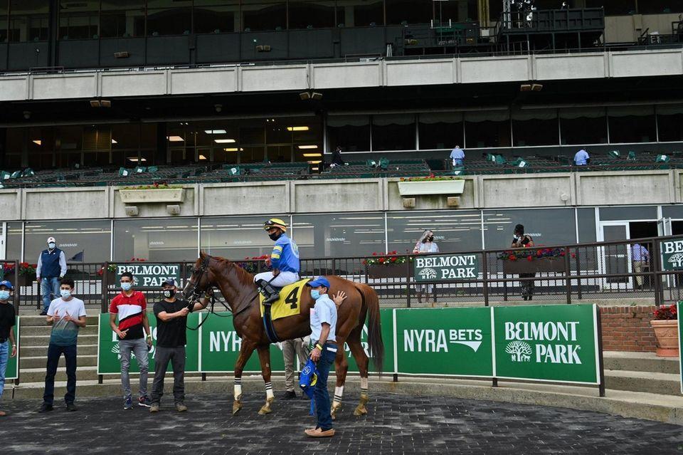 Jockey Reylu Gutierrez, riding Star of the West,