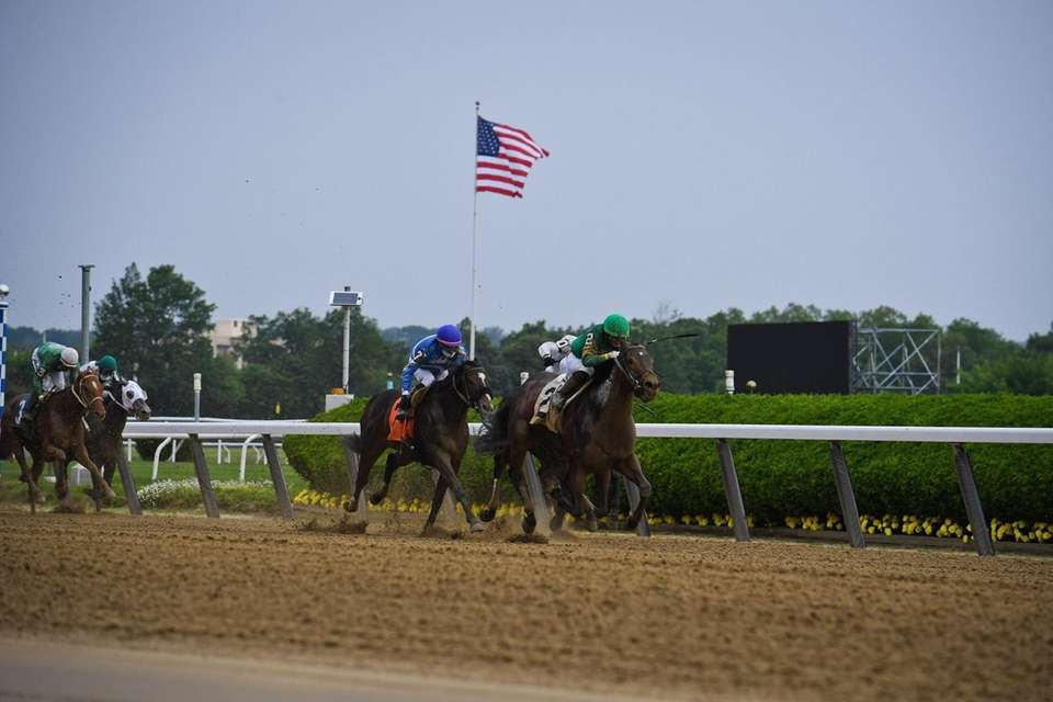 Horses race during the first race at the