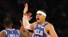 Philadelphia 76ers small forward Tobias Harris (12) reacts