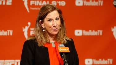 WNBA Commissioner Cathy Engelbert speaks at a news
